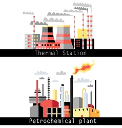 petrochemical plant and thermal power plant vector image
