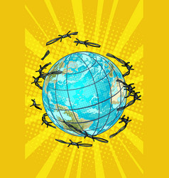 Planet earth is barbed wire free vector