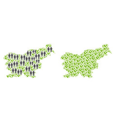 Population and flora slovenia map vector