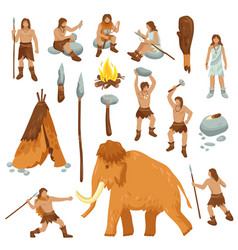 Primitive people flat cartoon icons set vector