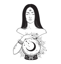 Prophetess with third eye reading crystal ball vector