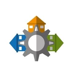Real estate gear symbol shadow vector