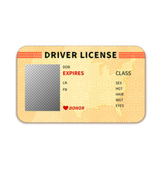 Realistic driver license with place for photo on vector