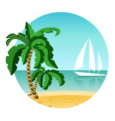 round picture of summer vacation on island with vector image