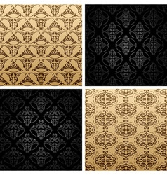 seamless set four vintage backgrounds ornament wal vector image