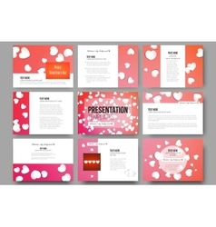 Set of 9 templates for presentation slides White vector image