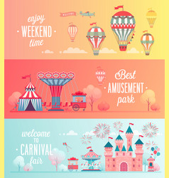 set of amusement park landscape banners vector image