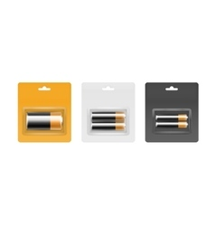 Set of black golden batteries in gray packed vector