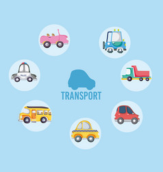 set of cartoons vehicles vector image