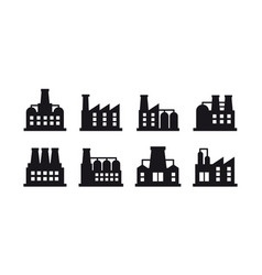 Set of industrial building and factory vector