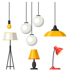 Set of lamps furniture chandelier floor and vector