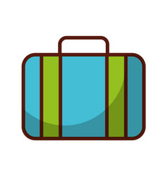 shadow blue suitcase cartoon vector image