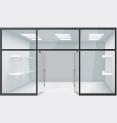 Shop empty interior front store 3d realistic vector