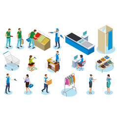 shopping people isometric icons vector image