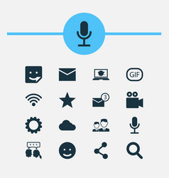 social icons set collection of camcorder chat vector image
