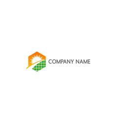 solar panel sun energy company logo vector image