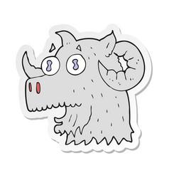 Sticker of a cartoon ram head vector