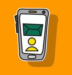 Sticker of smartphone notification flat icon vector