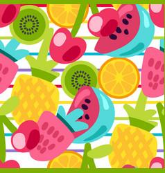 Summer fruits patterns vector
