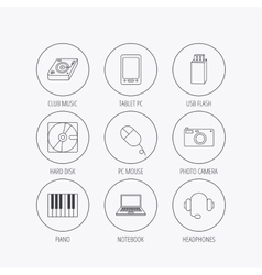 Tablet PC USB flash and notebook laptop icons vector image