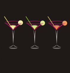 three cocktails vector image