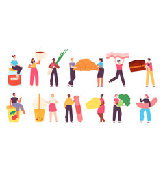tiny characters with food people with grocery vector image