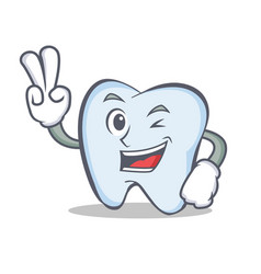 tooth character cartoon style with two finger vector image