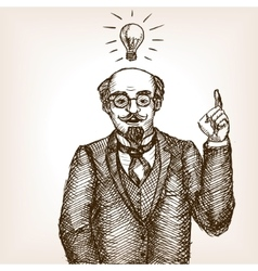 Vintage scientist gentleman sketch style vector