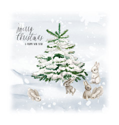 Watercolor christmas tree with bunny and snow vector