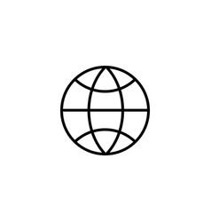 web line icon globe black on white background vector image