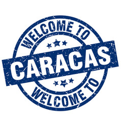 Welcome to caracas blue stamp vector