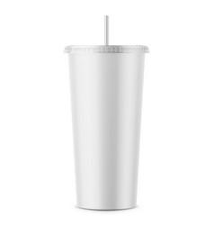 White disposable paper cup with lid and straw vector