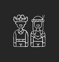 wild west chalk white icon on black background vector image