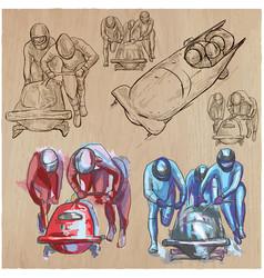 winter sport - bobsleigh an hand drawn pack vector image