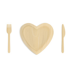 wooden heart plate with fork and knife top view vector image