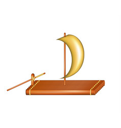 Wooden raft with sail vector