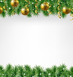 Xmas Fir Tree Border With Colden Balls vector image