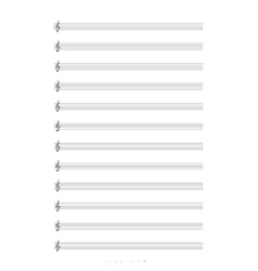 Blank A4 music notes with treble clef vector image vector image