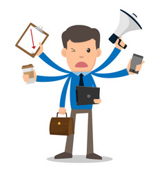 businessman unhappy with multitasking and multi vector image