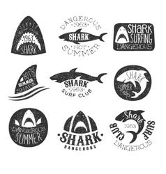 Dangerous shark surf club set of black and white vector