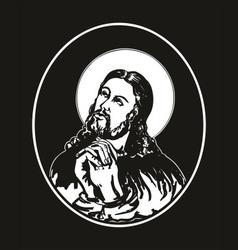 jesus praying vector image