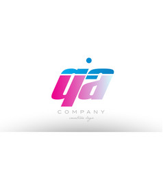 qa q a alphabet letter combination pink blue bold vector image vector image