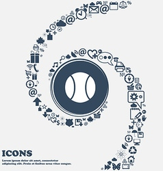 baseball icon in the center Around the many vector image