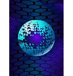 Broken ball over the hexagonal grids vector image vector image