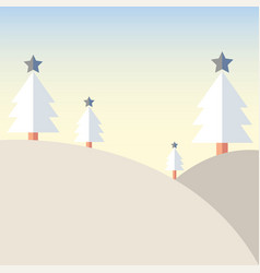 christmas tree on mountain with snow vector image vector image