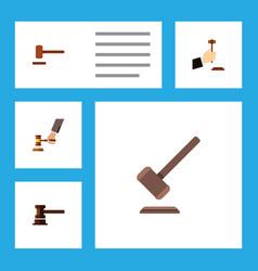 flat icon court set of crime tribunal defense vector image