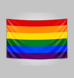 hanging flag of lgbt tolerance concept vector image
