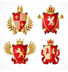 heraldic coat of arms set vector image vector image
