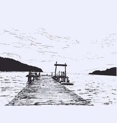 wonderful seaveiw pier sketch vector image