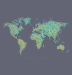 world map tangle lines light blue vector image